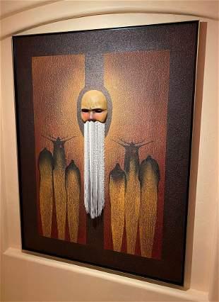 MIXED MEDIA MACABRE ARTWORK SHAMEN BY ROLLIN