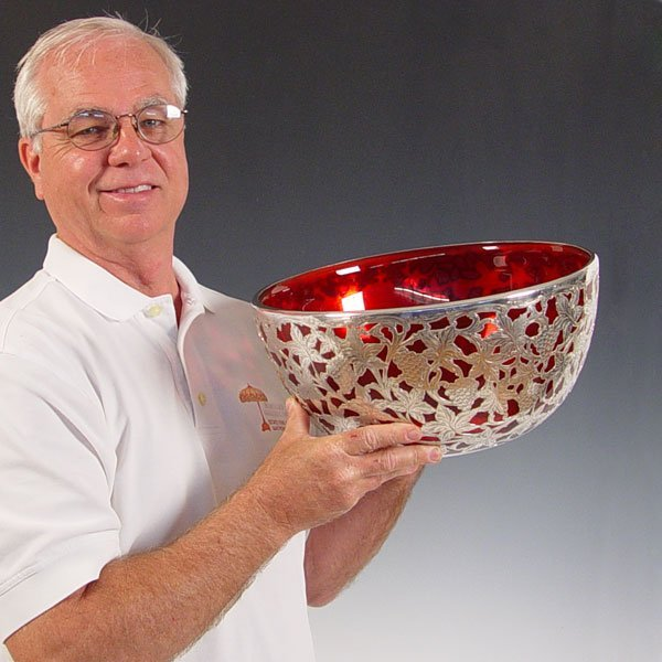 1: STERLING SILVER OVERLAY CRANBERRY GLASS PUNCH BOWL