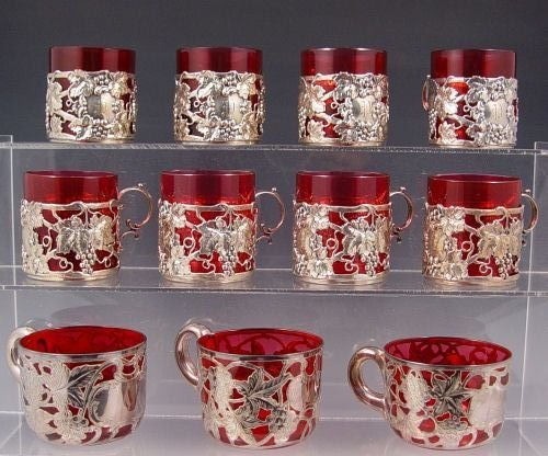 2: STERLING SILVER OVERLAY CRANBERRY GLASS PUNCH cups