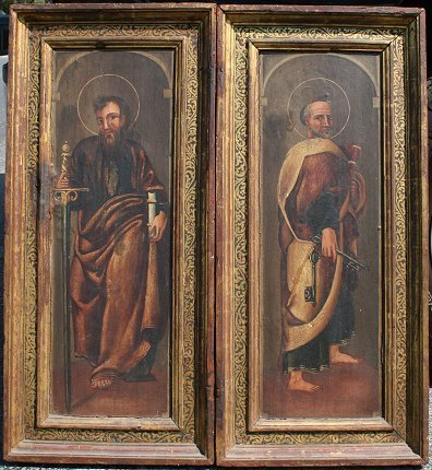 10: PAIR OF EARLY SPANISH? SAINTS PAINTINGS