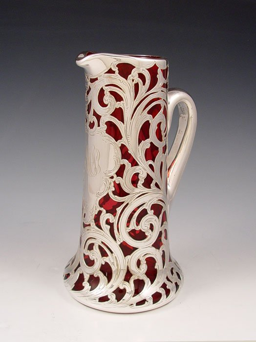 11: STERLING SILVER OVERLAY CRANBERRY GLASS PITCHER