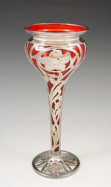 12: NOUVEAU STERLING OVERLAY CRANBERRY GLASS VASE