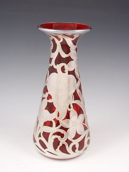13: STERLING SILVER OVERLAY CRANBERRY GLASS VASE