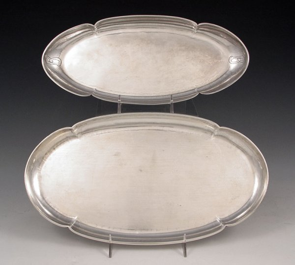 19: 2 THE KALO SHOP ARTS & CRAFTS STERLING TRAYS