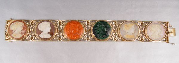 21: 14K SIX CAMEO BRACELET Of ASSORT. STONE