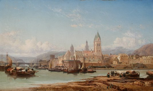 23: JAMES WEBB PANORAMIC PAINTING OF COBLENZ 1875