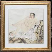 370: RECLINING JAPANESE FEMALE NUDE WATERCOLOR PAINTING