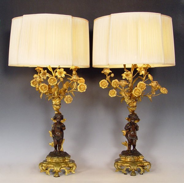 2: PICARD FRENCH BRONZE CANDELABRA LAMPS