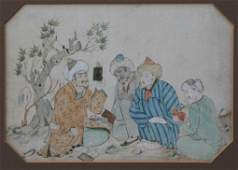14 PERSIAN PAINTING WITH FIGURES SIGNED