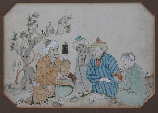 14: PERSIAN PAINTING WITH FIGURES SIGNED