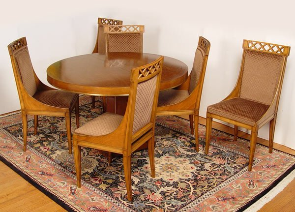 16: ROUND NEO-CLASSICAL STYLE DINING TABLE W/ 6 CHAIRS