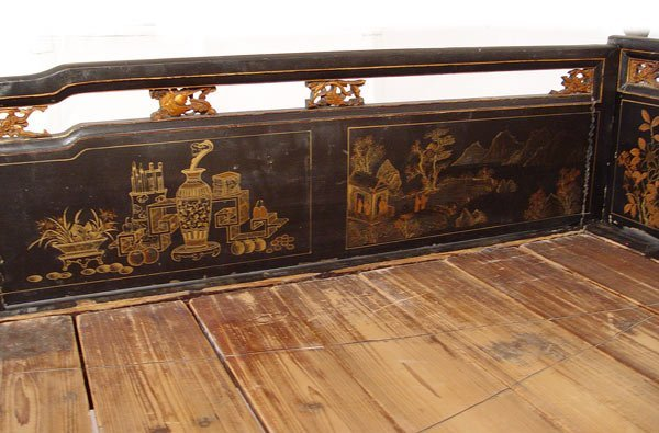 117: 19th C CHINESE DECORATED LACQUER PLATFORM BED - 3