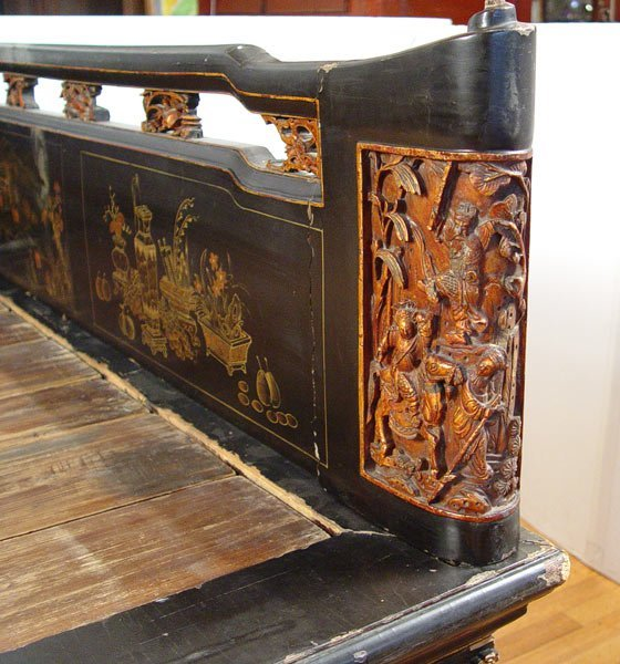 117: 19th C CHINESE DECORATED LACQUER PLATFORM BED - 5