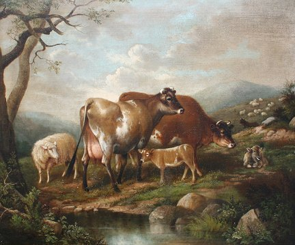 170: IMPORTANT SUSAN WATERS PAINTING SHEEP COWS