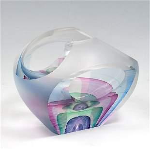 MICHAEL DAVID & KIT KARBLER ART GLASS VASE
