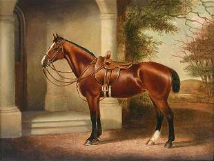 EXCEPTIONAL EQUINE PORTRAIT PAINTING SIGNED L. BROAD