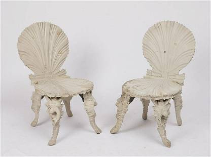 PR ANTIQUE VENETIAN GROTTO SHELL FORM CHAIRS