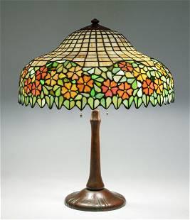 SIGNED HANDEL LEADED GLASS TABLE LAMP