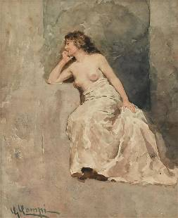 STUDY OF A YOUNG FEMALE NUDE PAINTING BY G CAMPI