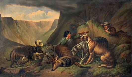 EXCEPTIONAL 19TH CENTURY AFTER THE HUNT PAINTING