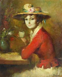 JOSE PUYET OIL ON CANVAS SEATED WOMAN IN RED