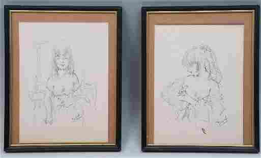 TWO JOSE PUYET YOUNG FEMALE DRAWINGS