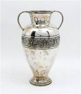 COIN SILVER HANDLED VASE BY SUMER