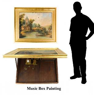 HARD TO FIND PAINTING WITH CLOCK AND MUSIC PLAYER