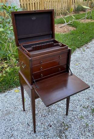 MAHOGANY SILVER CHEST ON STAND