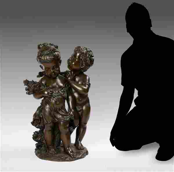 LARGE FIGURAL BRONZE GROUPING OF CHILDREN