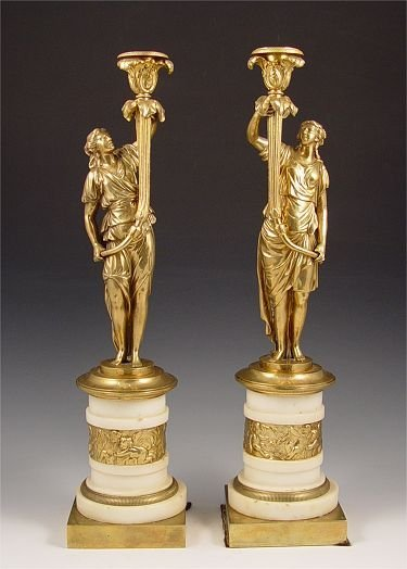 2: PAIR REGENCY GILT BRONZE CANDLE STANDS