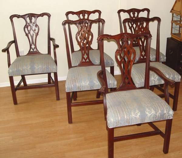 1:  6 ETHAN ALLEN CHIPPENDALE  MAHOGANY  CHAIRS