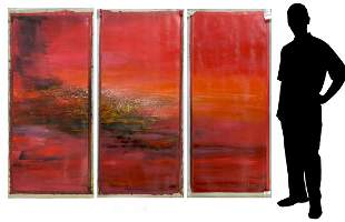 LARGE BO YUN RED ABSTRACT TRIPTYCH PAINTING