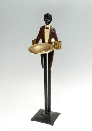 FIGURAL CAST IRON 1940S SMOKING STAND