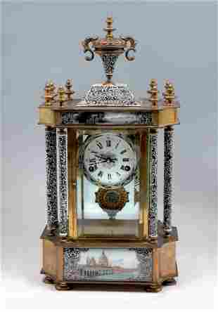 SIX PILLAR CLOISONNE CLOCK WITH PAINTED TABLETS