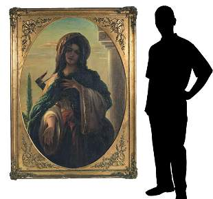 LARGE RELIGIOUS MOTIF PAINTING OF A YOUNG GIRL REACHING