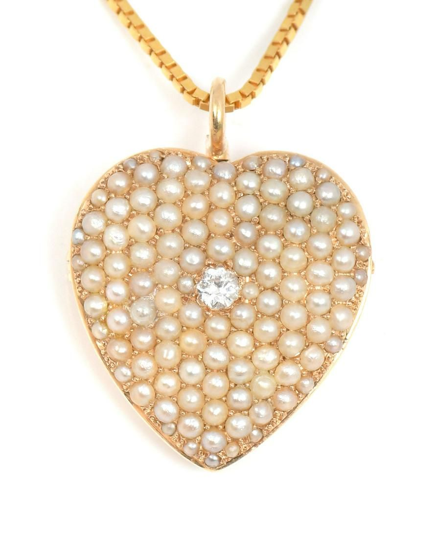 14K EARLY 20TH C PEARL STUDDED HEART PENDANT/NECKL