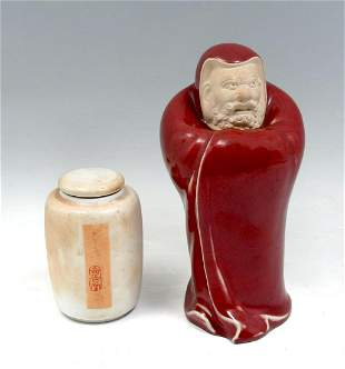 2 PC. JAPANESE PORCELAIN TEA JAR AND IMMORTAL