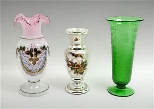 3 PIECE ART GLASS VASE COLLECTION