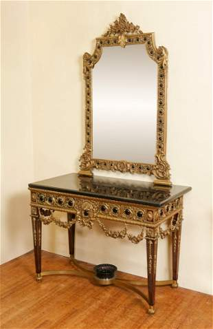 METAL MOUNTED MARBLE TOP CONSOLE TABLE & MIRROR