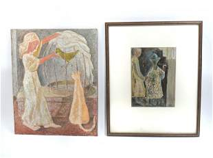 TWO PIECE ARTHUR GERLACH PAINTING LOT