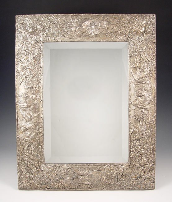 17: EMBOSSED STERLING REPOUSSE MIRROR
