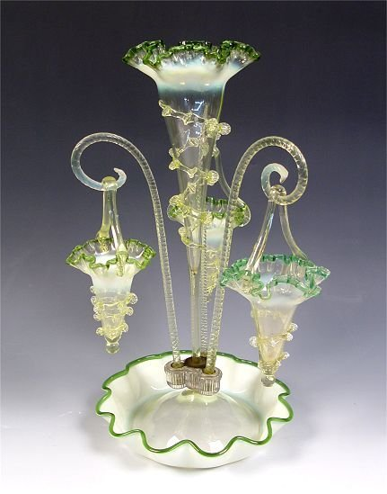 1: VICTORIAN GREEN OPALESCENT ART GLASS EPERGNE