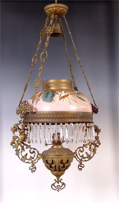57A: MID 19TH CENTURY JOHN SCOTT HANGING OIL LAMP