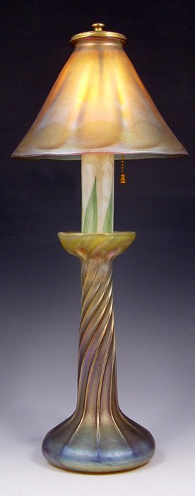 1: TIFFANY FAVRILE GLASS CANDLESTICK LAMP