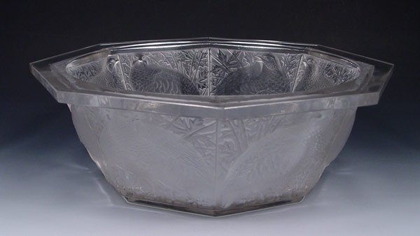 2: LALIQUE PARTRIDGE OCTAGONAL CENTER BOWL