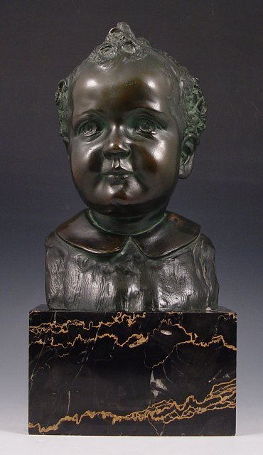 23: ILLEGIBLY SIGNED FRENCH BRONZE BABY BUST
