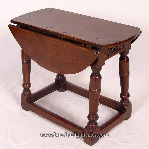 7: LATE 18TH C ENGLISH DROP LEAF STOOL