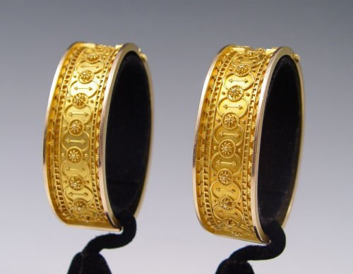 14: dated 1879 PAIR 18K VICTORIAN BANGLE BRACELETS