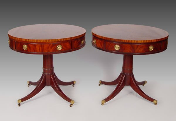 20: PAIR HICKORY CHAIR CO. MAHOGANY DRUM TABLES